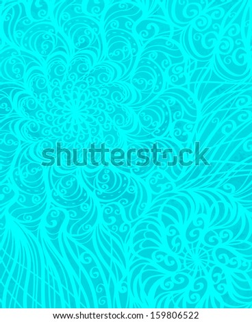 Holiday winter background with floral pattern - raster version