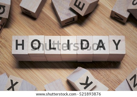 Holiday Word Written In Wooden Cube