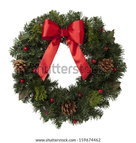 Holiday Wreath with Pine Cones and Red Ribbon Isolated on White Background.