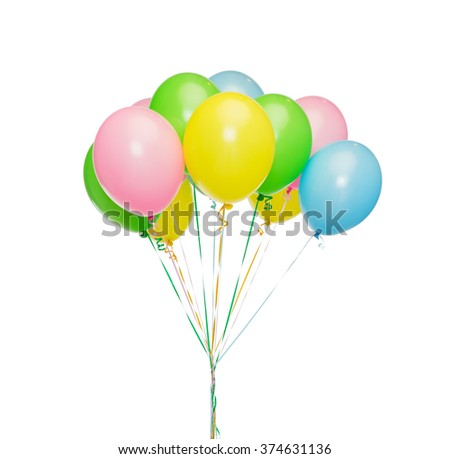 holidays, birthday, party and decoration concept - bunch of inflated colorful helium balloons - stock photo