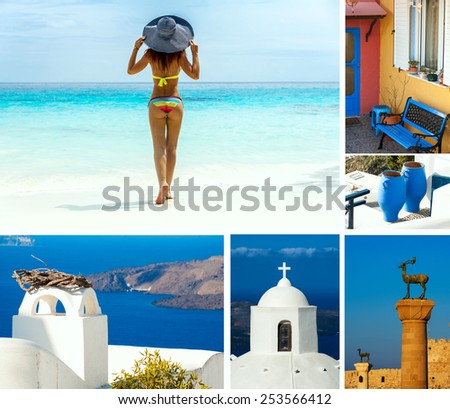 Holidays in Greece. Beautiful woman standing on paradise beach. Colorful collage of islands photos. - stock photo