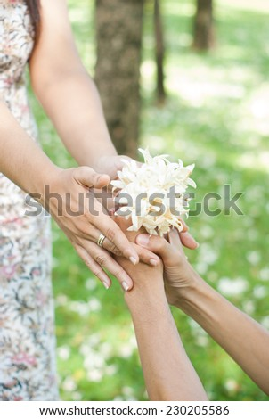holidays, love, couple, relationship and dating concept - romantic - stock photo