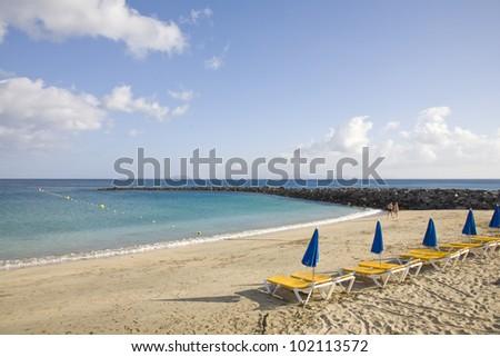 holidays on a tropical beach - stock photo