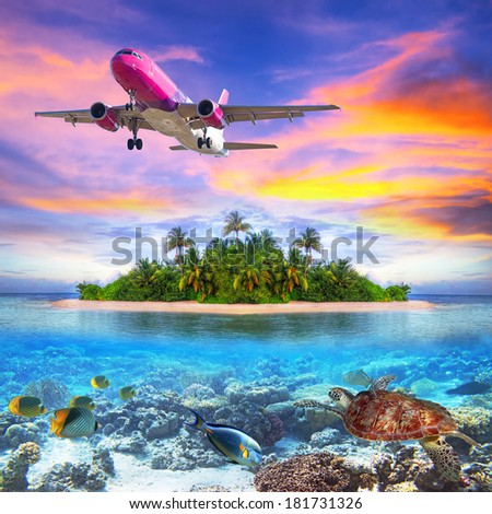 Holidays on the tropical island of Maldives - stock photo