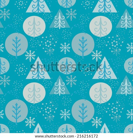 Holidays winter seamless pattern with Christmas tree and snowflakes. Abstract geometric repeating background texture. Fabric design. Wallpaper - raster version - stock photo