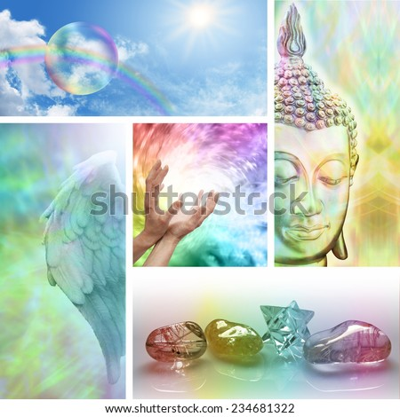 Holistic Healing Collage -  Five aspects of alternative therapy including Angels, crystal healing, color healing, sending distant healing and Buddhism - stock photo