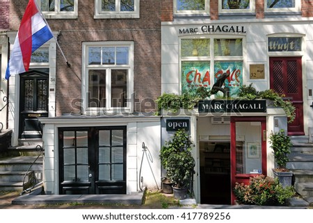 Holland, Amsterdam, 28 April 2016 : Marc Chagall art gallery in the city