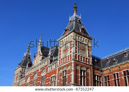 Holland, Amsterdam, view of the Central Railway Station facade - stock photo