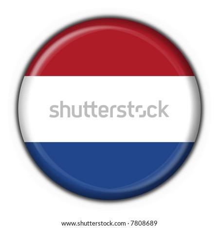 holland button flag round shape - stock photo