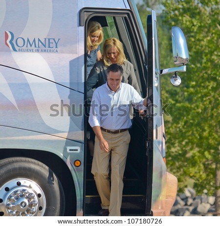 HOLLAND, MICHIGAN - JUNE 19: Mitt and Ann Romney campaign rally at Holland State Park, June 19,2012 in Holland Michigan - stock photo