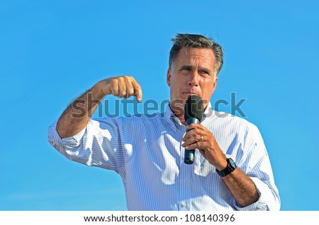 HOLLAND, MICHIGAN - JUNE 19: Mitt Romney during a campaign rally at Holland State Park on June 19, 2012 in Holland, Michigan - stock photo