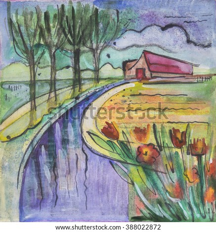 Holland seasonal painting by  watercolor and tempera - stock photo