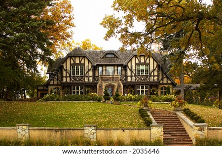 Holland style house in the autumn foliage. More with keyword group18a