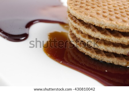 Holland waffle with sauce isolated