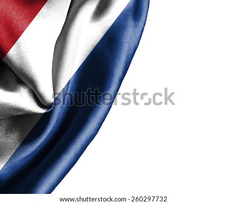 Holland waving silky flag isolated on white background - stock photo
