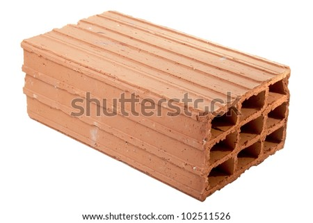 hollow brick on white background - stock photo