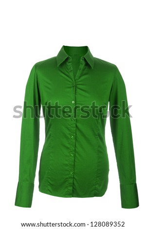Hollow Female green blouse with long sleeves, isolated on white background - stock photo