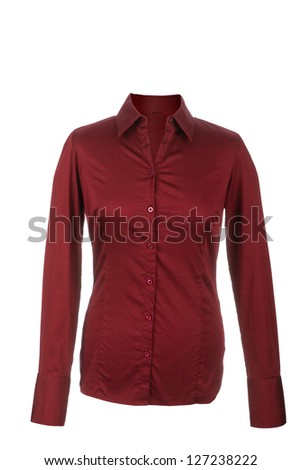 Hollow Female red blouse with long sleeves, isolated on white background