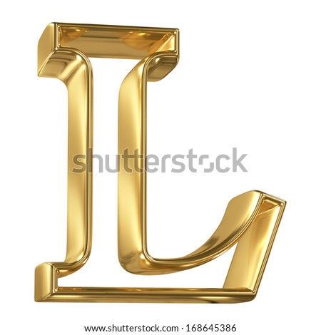 Hollow noble letter L with golden glossy outline