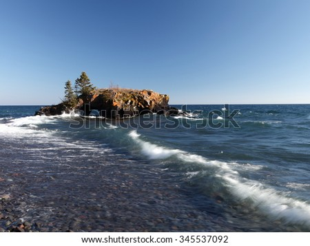 Hollow Rock on the Lake Superior north shore in Minnesota - stock photo