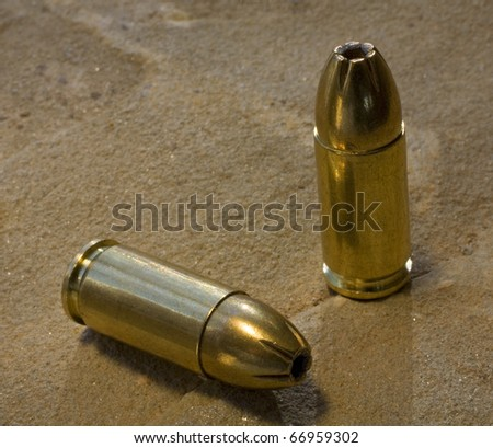 hollowpoint bullets designed for use in a pistol - stock photo