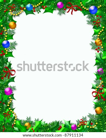 holly berries and ornaments frame on blank white illustration - stock photo
