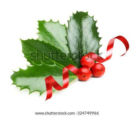 Holly berry leaves  and red ribbon, Christmas decoration isolated on white background - stock photo