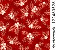 Holly berry. Seamless pattern with hand drawn elements. Raster version. Vector is also available in my gallery - stock photo