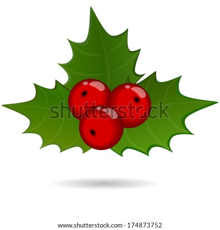 holly berry sprig, christmas symbol. Raster version  - stock photo