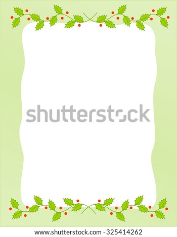 Holly leaves Christmas/holiday background/border with empty space on center  - stock photo