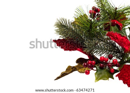 Holly sprig with red, green and gold leaves on a white background  with copy space