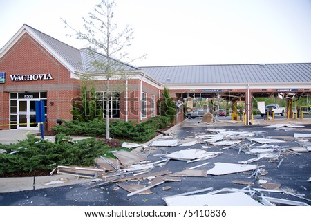 HOLLY SPRINGS, NC, USA - APRIL 16: A tornado caused severe damage to the Wachovia bank drive through in Holly Springs on April 16, 2010 in Holly Springs, NC, USA