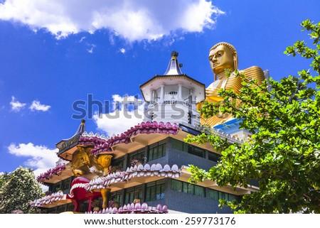 holly temple in Dambula, touristic attraction, Sri lanka - stock photo