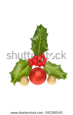 Holly with ripe red berries and gold and red glitter Christmas baubles isolated against white - stock photo