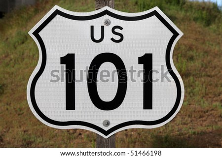 Hollywood and Ventura 101 freeway sign in Los Angeles, California. - stock photo