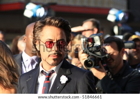 "HOLLYWOOD - APRIL 26: Actor Robert Downey, Jr at the premiere of the movie ""Ironman 2"" April 26, 2010 in Hollywood, California"