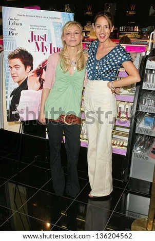 "HOLLYWOOD - APRIL 29: Samaire Armstrong and Bree Turner at an in store appearance to promote their new movie ""Just My Luck"" in Saphora Salon on April 29, 2006 in Hollywood, CA."