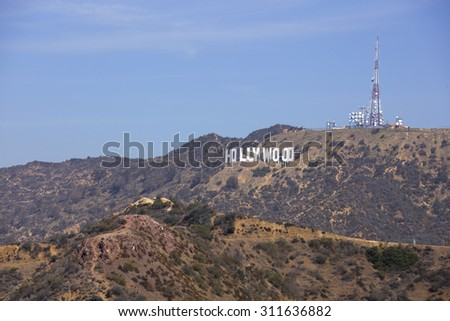 HOLLYWOOD - AUGUST 5: Far shot of the Hollywood Sign which was built in 1923 August 5, 2015 in Hollywood CA USA - stock photo