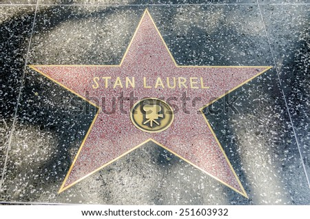 HOLLYWOOD - AUGUST 26, 2012: Stan Laurel's star on Hollywood Walk of Fame, as seen on August 26, 2012 in Hollywood in California. This star is one of 2400 celebrity stars located on Hollywood Blvd. - stock photo