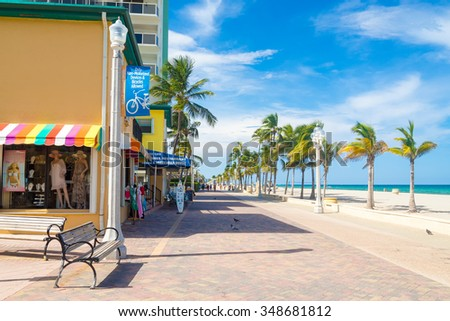 HOLLYWOOD BEACH,USA - AUGUST 25,2015 : The famous Hollywood Beach boardwalk in Florida on a summer day - stock photo