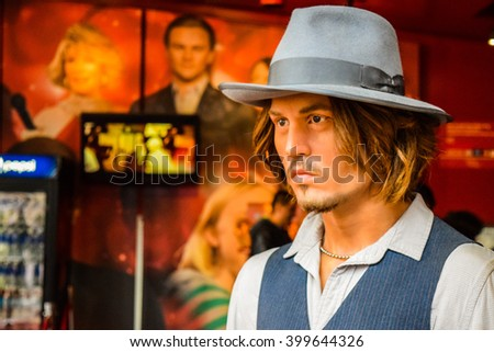 Hollywood Blvd,Los Angeles, California 01.16.2016: Johnny Depp in Madame Tussauds Hollywood wax museum. Marie Tussaud was born as Marie Grosholtz in 1761 - stock photo
