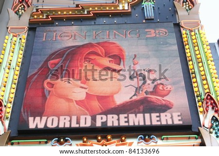 HOLLYWOOD CA : AUGUST 27: The marquee announcing the world premiere of the Lion King 3D at the El Capitan Theatre August 27, 2011 Hollywood, CA. - stock photo