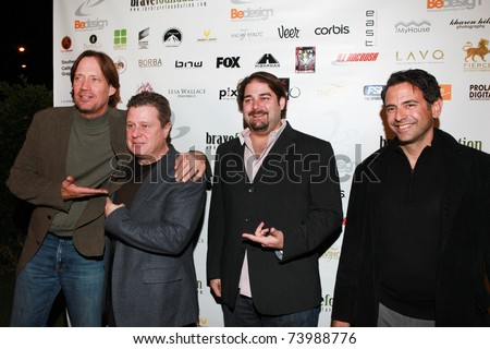 HOLLYWOOD, CA - DEC 18: Kevin Sorbo (left), Steve Man (right) and guest (center) attends the 3nd annual Be Bash holiday party on December 18, 2009 in Hollywood, California