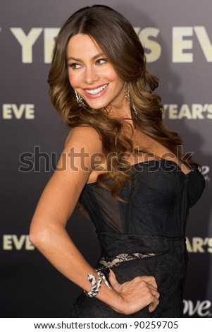 """HOLLYWOOD, CA - DECEMBER 5: Actress Sofia Vergara arrives at the premiere of """"New Year's Eve"""" at Grauman's Chinese Theater on December 5, 2011 in Hollywood, California - stock photo"""
