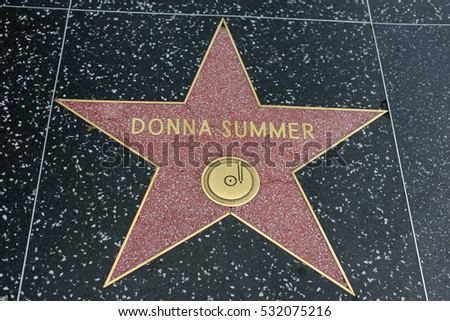 HOLLYWOOD, CA - DECEMBER 06: Donna Summer star on the Hollywood Walk of Fame in Hollywood, California on Dec. 6, 2016.