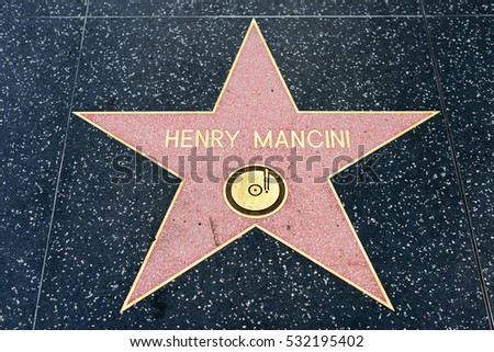 HOLLYWOOD, CA - DECEMBER 06: Henry Mancini star on the Hollywood Walk of Fame in Hollywood, California on Dec. 6, 2016.