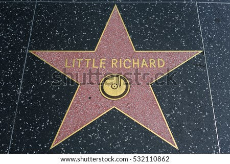 HOLLYWOOD, CA - DECEMBER 06: Little Richard star on the Hollywood Walk of Fame in Hollywood, California on Dec. 6, 2016.