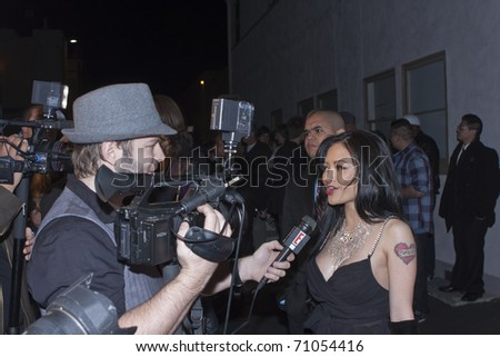 HOLLYWOOD, CA - FEBRUARY 11: Actress / Singer / Model Tila Tequila arrives at the 14th annual 'Friends 'N' Family' GRAMMY event at Paramount Studios on February 11, 2011 in Hollywood, California. - stock photo