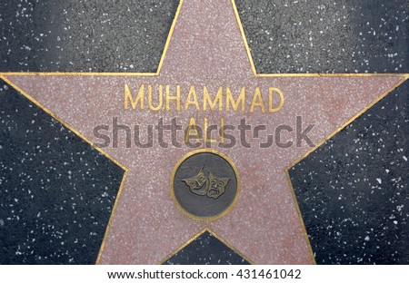 HOLLYWOOD, CA - JUNE 4, 2016: A close shot of Muhammad Ali's star on public display on the Hollywood Walk of Fame on June 4, 2016.