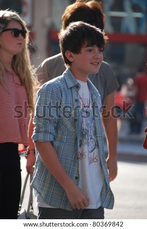"HOLLYWOOD, CA- JUNE 18: Singer Greyson Chance attends the Disney's Pixar ""Cars 2"" premiere, held at El Capitan Theatre, June 18, 2011 in Hollywood,CA. - stock photo"